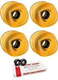 Shark Wheels 70mm Sidewinder Longboard Skateboard Wheels with Bones Bearings - 8mm Bones Swiss Skateboard Bearings - Bundle of 2 items