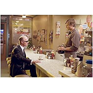 A History of Violence 8x10 Photo Ed Harris Seated at Counter Sunglasses & Viggo Mortensen Behind Counter Holding Coffee Pot kn