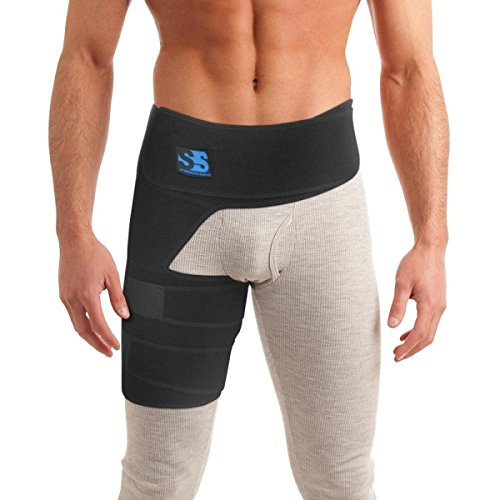 Right Side Support Belt - Hip Brace Groin & Thigh Support Compression Wrap. SI Belt for Sciatica Pain Relief, Pulled Muscle and Hip Flexor Recovery, Injury and Sprain Relief. For Hernias, Hamstrings, Quads and Joints.