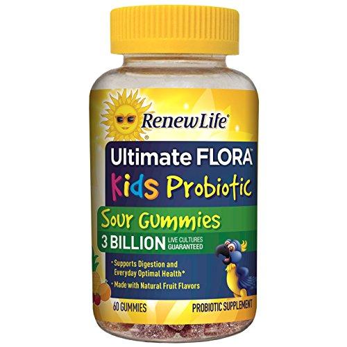 Renew Life Kids Probiotic - Ultimate Flora  Kids Probiotic, Shelf Stable Probiotic Supplement - 3 Billion - Fruit Flavor, 60 Chewable Sour Gummies (Packaging May Vary)