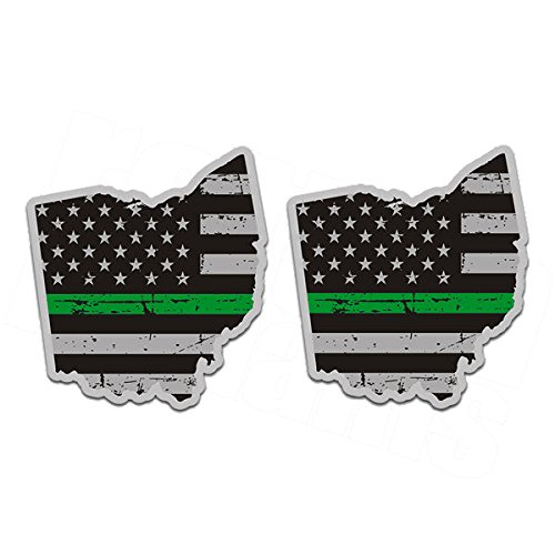 1080GPHX Ohio Thin Green Line Decal SET OH Subdued American Flag Sticker Made in (Ohio Decal Set)