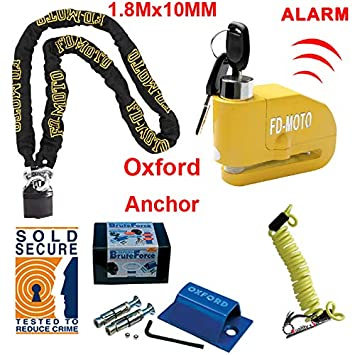 Reminder Cable 1.5m Oxford Sold Secure Anchor FD-MOTO 1.2M*10MM Motorbike Motorcycle Chain Lock Padlock Alarmed Brake Disc Lock 110dB