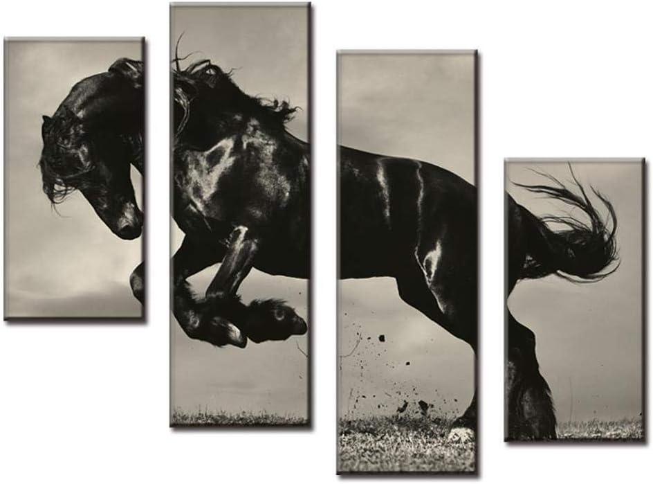 Bebeehome 4 Unids/Set Pintura combinada sobre Lienzo Salto Caballo Negro Cartel Arte de la Pared para la decoración del hogar-20x40cmx2 20x60cmx2-Enmarcado
