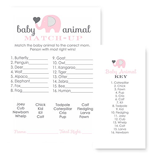 Pink Elephant Baby Shower Game Animal Match 25 Pack Passion Missions
