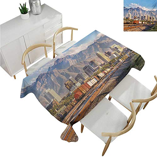 familytaste Landscape,Tablecovers Rectangular,Downtown Salt Lake City Skyline in Utah USA Railroads Mountains Buildings Urban,Table Cloth Cover Wedding Event Party 60