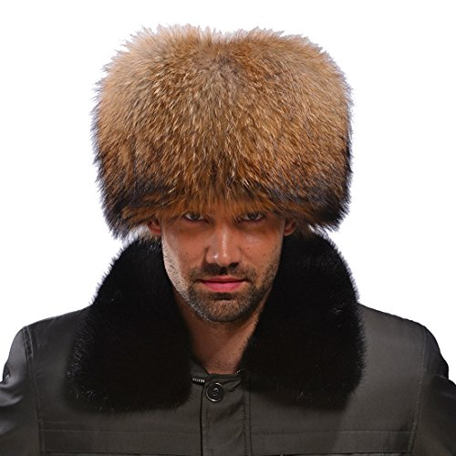 Men's Raccoon All Fur Zhivago Pill Box Fur Hat Natural Color (One Size Fits All, Natural Color) by URSFUR