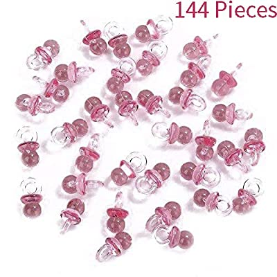 Adorox (144 Pieces) Pink Acrylic Baby Pacifiers Baby Shower Decoration Table Scatter: Toys & Games