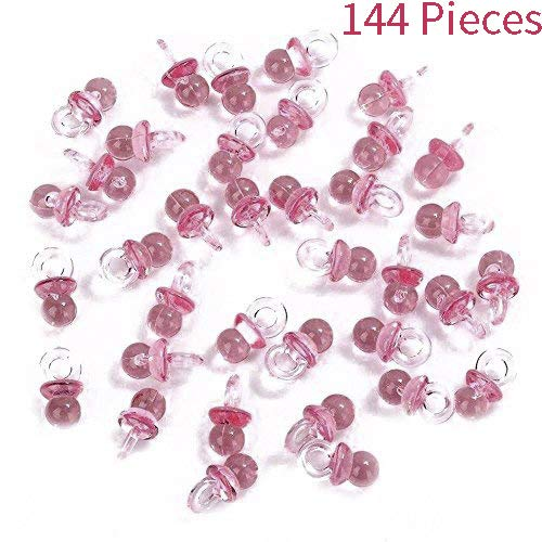 Adorox 144 Pieces Pink Acrylic Baby Pacifiers Baby Shower Decoration Table Scatter