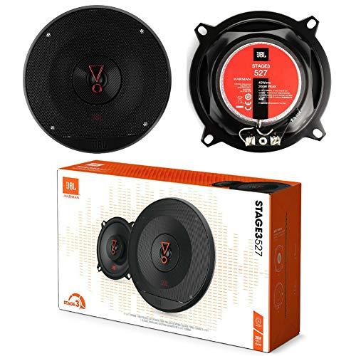2 Altavoces Compatible con JBL STAGE3 527 2 vías 5.25″ coaxial 13.00 cm 130 mm 40 vatios rms y 200 vatios máx 3 ohmios 91 db spl Coche Negro, por par