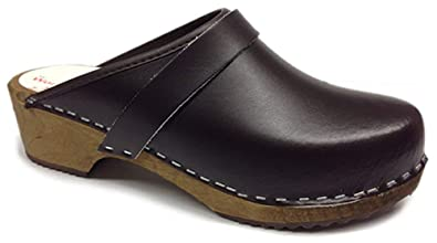 46d260d620971 World of Clogs AM100 Brown leather Swedish Unisex Wooden Clogs - Size 38