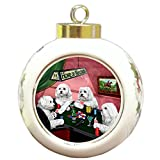 Home of Maltese 4 Dogs Playing Poker Round Ball Christmas Ornament