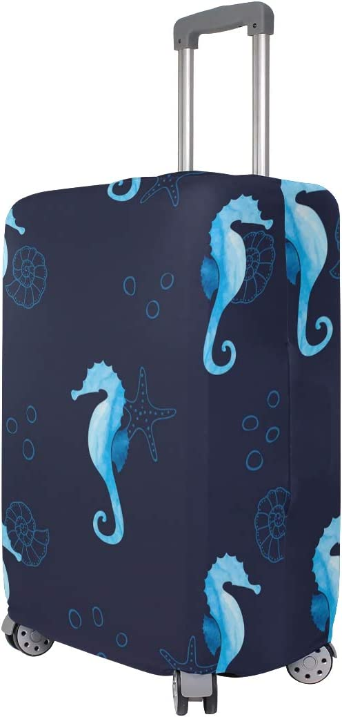 Travel Luggage Cover Navy Blue Marine Sea Horse Starfish Suitcase Protector