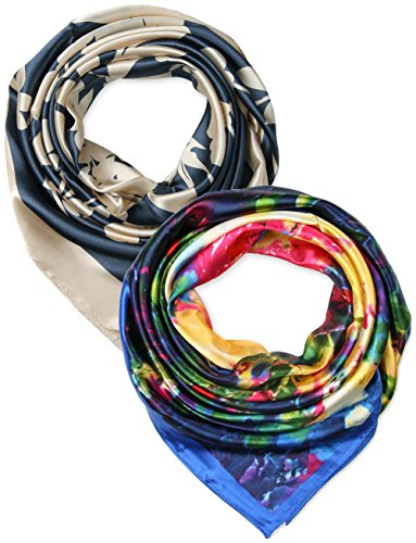 2 Pcs 35 Silk Feeling Beige Charcoal Flowers Yellow Blue Abstract Square Hair Scarf