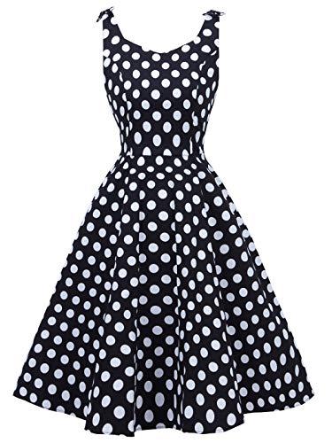FAIRY COUPLE Women's 1950's Bowknot Vintage Retro Polka Dot Rockabilly Evening Party Swing Dress 2XL Black White Dots]()