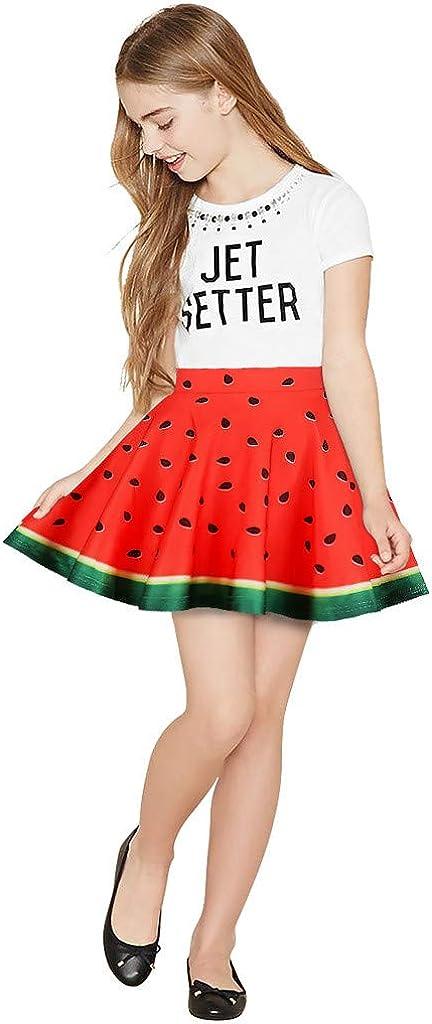 DDLmax Toddler Kids Girl Galaxy 3D Digital Printing Princess Casual Pleated Tutu Skirt