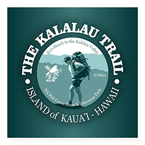 (CafePress Kalalau Trail Sticker Square Bumper Sticker Car Decal, 3