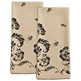 Busy Bee Cotton Dishtowels 18-Inch by 28-Inch, Embellished, Set of 2