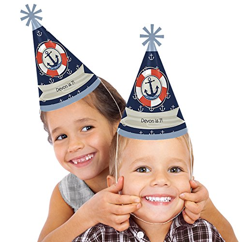 Custom Birthday Hat - Custom Ahoy - Nautical - Personalized Cone Happy Birthday Party Hats for Kids and Adults - Set of 8 (Standard Size)