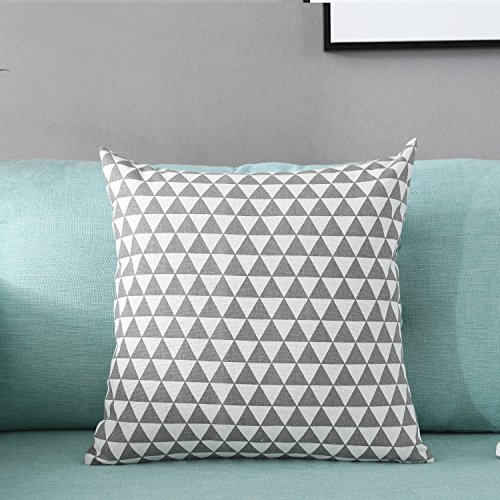TAOSON Gray/Gay Triangle Geometry Pattern Cotton Flax Soft Home Decorative Throw Cushion Cover Pillow Cover Pillowcase with Hidden Zipper Closure Only Cover No Insert 18x18 Inch 45x45cm