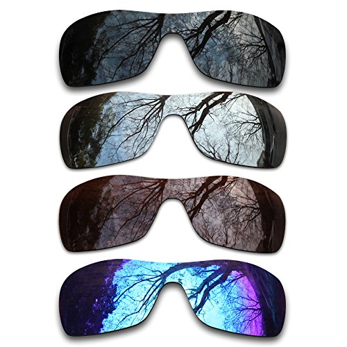 Bronze Silver Chrome Lens - ToughAsNails Set of 4 Polarized Replacement Lenses for Oakley Antix Pack-BSBI1