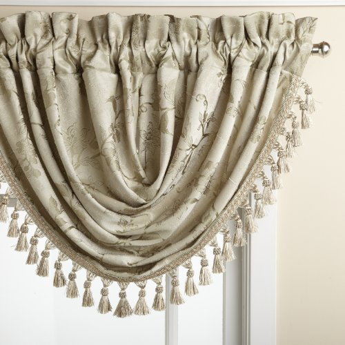 Lorraine Home Fashions Floral Lustre 48-inch x 37-inch Waterfall Valance, Sage