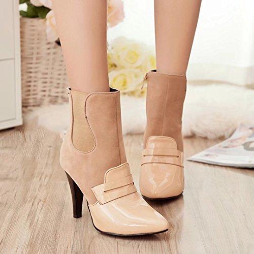AIYOUMEI Damen Lack Spitz Zehen Stiletto Stiefeletten mit 9cm Absatz High Heel Ankle Boots Aprikose