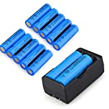 10PC 5000mAh 3.7v 18650 Li-ion Battery - Rechargeable + 1 X US Plug Charger