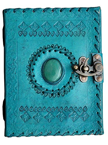 Leather Diary Journal Notepad Writing Book Stone Brown Embossed Handmade Papers Designed For Home & Office (7x5, Light Blue) by pranjals house