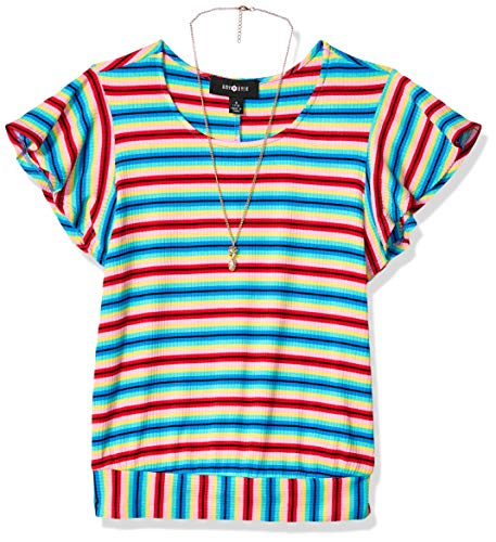 Amy Byer Girls' Big Flutter Sleeve Top with Back Tie, Rainbow Multi Stripe -