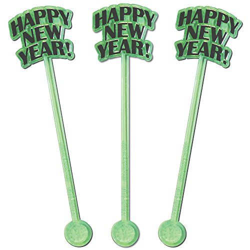 ear, Countdown Clock, NYE Party Swizzle Sticks, Set of 24 (Green) (New Years Countdown Clock)