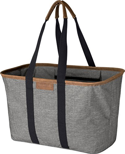 CleverMade 30L SnapBasket LUXE - Reusable Collapsible Durable Grocery Shopping Bag - Heavy Duty Large Structured Tote, Heather Grey -