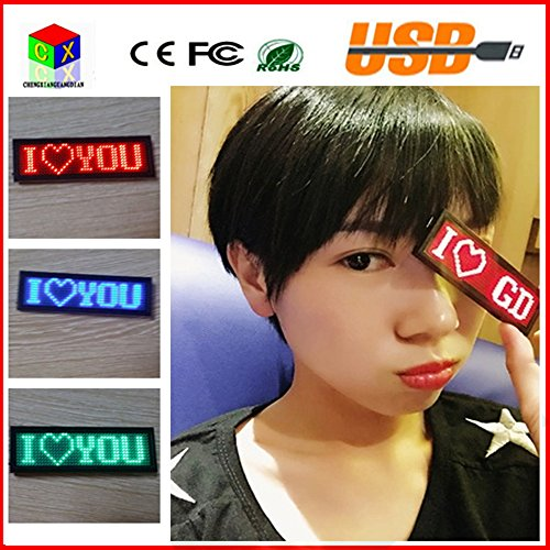 Scrolling Led Sign (4411 Red LED name display scrolling text message / name card tag sign advertising board Rechargable programmable led tag)