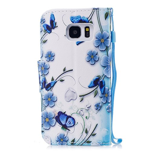 Samsung Galaxy S7 Edge Hülle, Chreey PU Leder Schutzhülle mit Blau Schmetterling Muster Bumper Flip Wallet Case Handyhülle Schmetterling