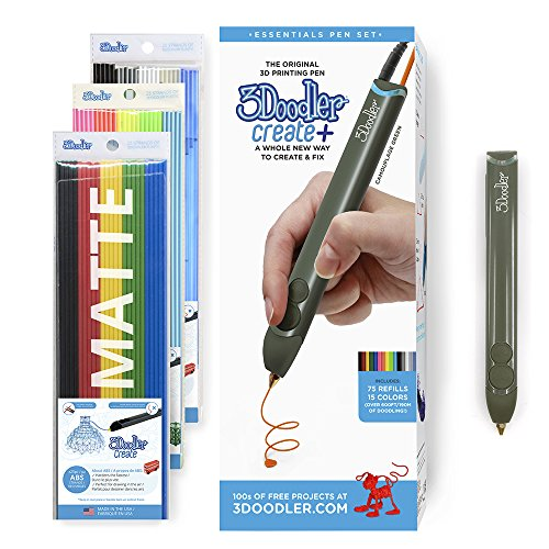 3Doodler 8CPSGNUS3E Create+ 3D Pen Set with 75 Filament (600 Ft. of Extruded Plastic), Camouflage Green ()