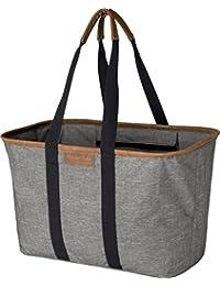 clevermade 30L snapbasket Luxe-reutilizable plegable bolsa de compras de comestibles bolsa-Heavy Duty grande estructurado duradero, gris jaspeado