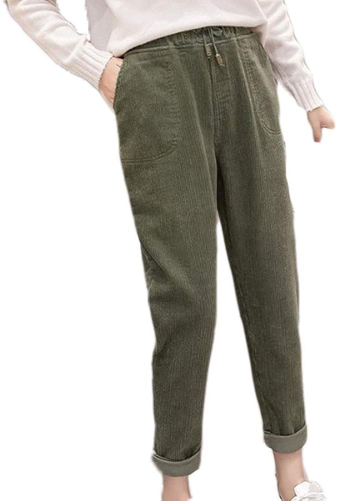 Hellomiko Pantalones De Pana Mujer Otono Invierno Vintage Pantalones Casuales Sueltos Pantalones Holgados De Bolsillo Harem Mujer Ropa Deportiva