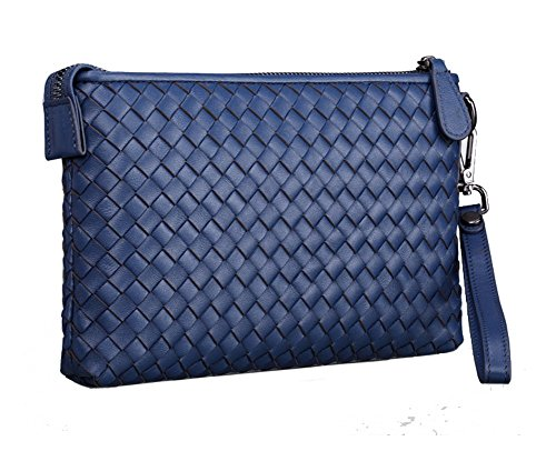 H&W Clutch Leder Unterarmtasche Handgelenktasche Geldbörse Portemonnaie für Herren Blue #14