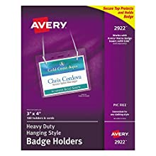 """Avery Clear Heavy-Duty Hanging Style Landscape Badge Holders, 3"""" x 4"""", Box of 100 (2922)"""