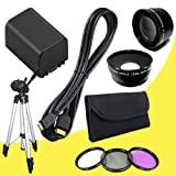 BP-819 Lithium Ion Replacement Battery + 58mm 3 Piece Filter Kit + 58mm Wide Angle Lens + 58mm 2x Telephoto Lens + Mini HDMI Cable + Full Size Tripod for Canon Vixia HFG10 XA10 HFS10 HFS20 HFS21 HFS30 HFS100 HFS200 Digital Camcorder DavisMAX BP819 Accessory Bundle