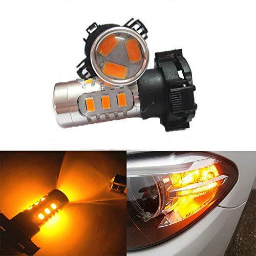 GFJMC 2 Pieces of Amber Error free LED SMD PY24W Turn Signal Lights for BMW E90 E92 E93 328i 335i M3