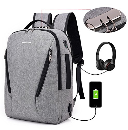 LINGTOM 15.6 Laptop Backpack, Anti Theft Water Resistant Business Computer Bag, Travel College School Backpack for Women & Men with USB Charging and Earphone Port, Grey