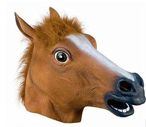 Halloween New Full Horse Head Latex Mask Animal Costume Actor's Headgear Christmas Gift MaskShow