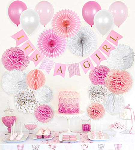 VIDAL CRAFTS Baby Shower Decorations for Girl, Its a Girl Party Decor, Complete Kit for Girls Baby Shower (Pink, Rose, White, Gold Polka Dot)