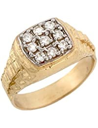 10k Two Toned Real Gold White Square CZ Cluster Rolex Inspired Ring