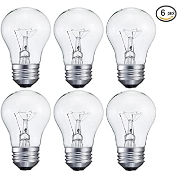 6 Pack 15-Watt Decorative A15 Incandescent Light Bulb, Medium (E26) Standard Household Base Crystal Clear