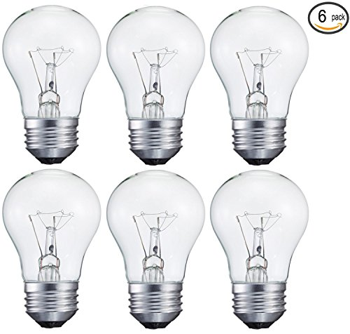 6 pack 15-Watt Decorative A15 Incandescent Light Bulb, Medium (E26) Standard Household Base Crystal Clear - Uses Clear Standard Base Bulb