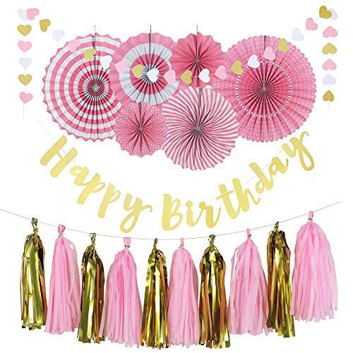 Lily & Peony Birthday Party Decoration Set in Pink and Gold- Includes Happy Birthday Banner, 6 Paper Fans, 10 Tassels and 32 Piece Heart Paper Garland- Perfect Birthday Decorations for Girls