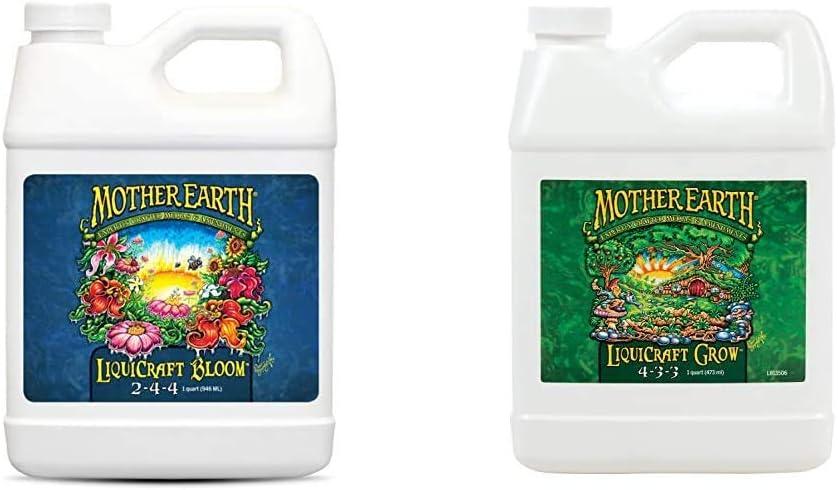 Mother Earth HGC733936 LiquiCraft Bloom 2-4-4 Liquid Fertilizer, Natural with LiquiCraft Grow 4-3-3 Liquid Fertilizer