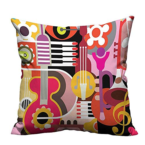 (YouXianHome Lovely Cushion Covers Complex Graphic with Various Musical Properties Icons Keyboard Festival Piano Party Art De Resists Stains(Double-Sided Printing) 31.5x31.5 inch)