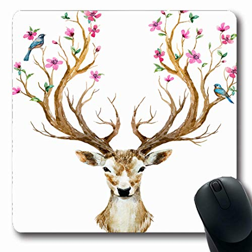 (Ahawoso Mousepads Flower Watercolor Deer Big Antlers Nature Branch Tree Bird Floral Cute Design Oblong Shape 7.9 x 9.5 Inches Non-Slip Gaming Mouse Pad Rubber Oblong Mat)